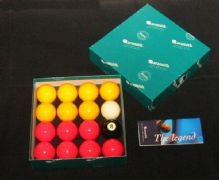 "ARAMITH PREMIER TOURNAMENT 2"" RED&YELLOW POOL BALLS 1 7/8"" match white cue ball - 372098244834"
